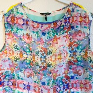 Daisy Fuentes Multi-Color Sheer Blouse